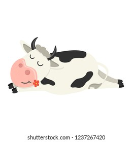 A funny cow is asleep. Set of cute Cows character in various poses. Vector illustration for your design
