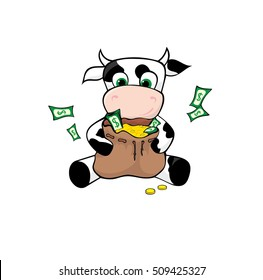 Funny cow with the bag full of cash