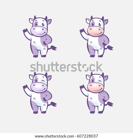 funny cow cartoon character happy cow stock vector royalty free