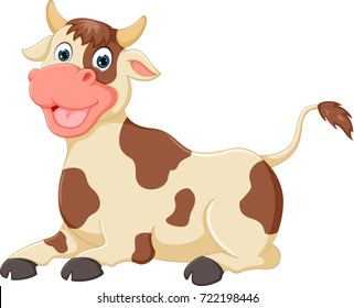 funny cow cartoon enjoying with laughing