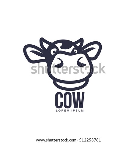 funny cow head logo template cartoon stock vector royalty free