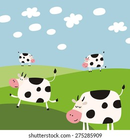 funny cow vector cartoon
