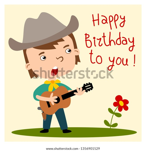 Funny Cowboy In Cartoon Style Playing Guitar And Singing Song