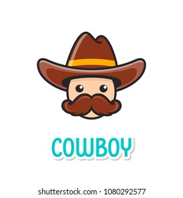 Funny cowboy face with hat and large moustache