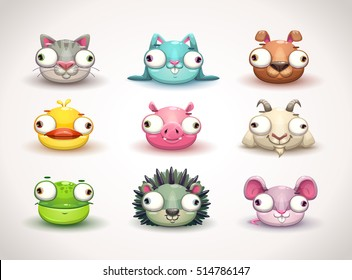 Funny crazy cartoon animal faces icons set. Vector illustration