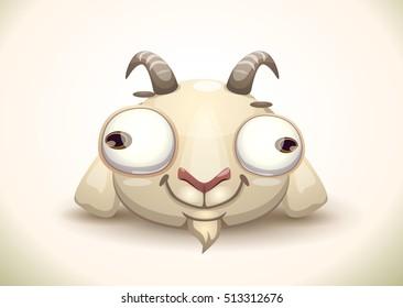 Funny crazy goat face icon. Cartoon style animal head. Vector illustration.