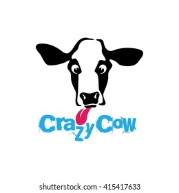 Funny crazy looking cow with his pink red tongue sticking out simple black & white vector illustration