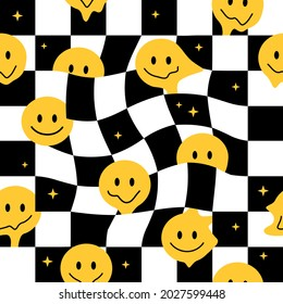 Funny crazy melt smile faces seamless pattern.Vector hand drawn crazy cartoon character illustration.Smile smiley faces melt,melting acid,trippy,cells,techno seamless pattern wallpaper print concept