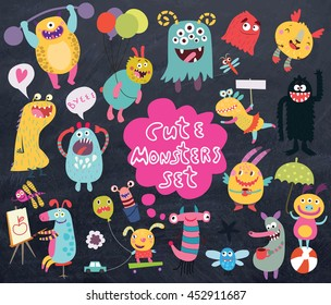 funny and crazy monsters on a dark background set of vector