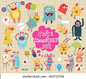 funny and crazy monsters set on notebook sheet vector