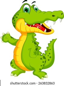 funny crocodile cartoon posing