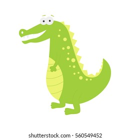 Funny crocodile. Cute cartoon African animal.  Funny vector alligator  isolated on white  background for children's  books, posters, clothes, alphabet  cards.