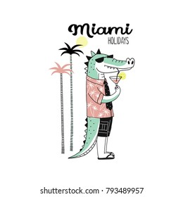 funny crocodile drinking cocktail in Miami, tee print for summer