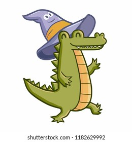 Funny and funny crocodile wearing witch hat for Halloween - vector.