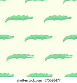 Funny Crocodiles Seamless Pattern. Vector Illustration Pastel shades background