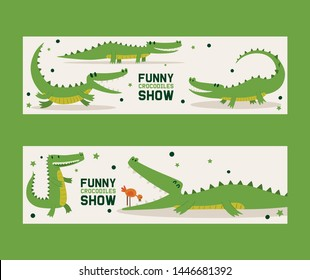 Funny crocodiles show set of banners vector illustration. Bird standing in mouth of alligator. Animal in different poses and activities, sitting, running and lying, showing tricks.