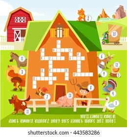 Funny crossword with cute cartoon farm animals.Ready game concept for children education.Vector illustration