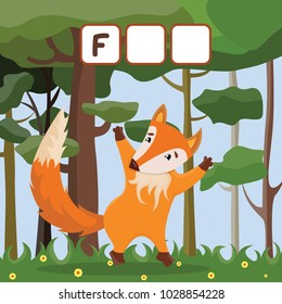 Funny crossword game with cute cartoon of red-haired beautiful fox on the forest glade. Vector Illustration. Cute preschool education worksheet.