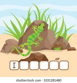 Funny crossword game with cute cartoon of bright green iguana is heated on a rock. Vector Illustration. Cute preschool education worksheet.