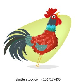 funny crowing rooster cartoon illustration