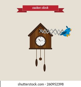 Funny cuckoo clock cartoon illustration. Flat style design - vector.