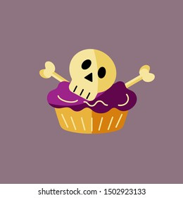 Funny cupcake with sugar skull and bones as logo, icon. Flat style vector illustration. Great for Halloween party invitation, flyer, greeting card, web, postcard, Dia de los Muertos holiday.