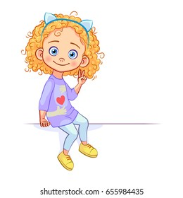Funny curly girl sits on a big white banner, with a victory hand gesture of two fingers. Kids emotions and poses. Cutout vector cartoon art.