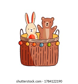 Funny cute adorable animal kid toy. Game basket with childish stuff or playthings. Hand drawn minimalistic bunny or hare and teddy bear. Flat vector cartoon illustration isolated on white background