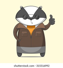 Funny Cute Animal Character Vector illustration Icon Set. Cartoon badger toy personages. Cool biker.