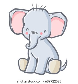 Funny and cute baby elephant sit and smiling happily - vector.