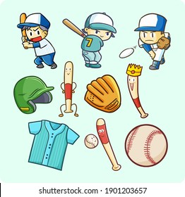 Funny and cute baseball theme doodle illustrations