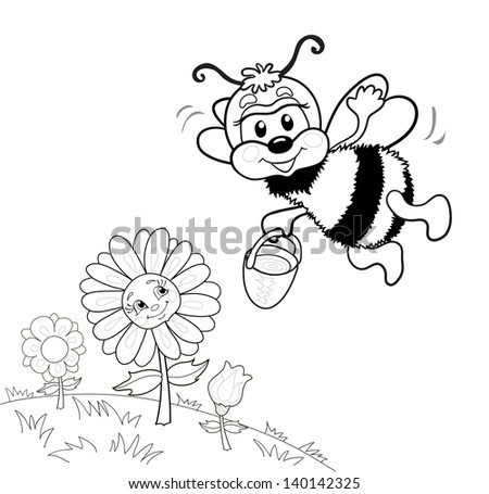 funny cute bee collects nectar flowers stock vector royalty free Jim Carrey Funny funny cute bee collects nectar from flowers she flies to the flowers flower smiles