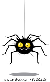 Funny cute black cartoon spider