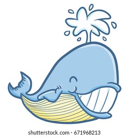 Funny and cute blue whale smiling happily - vector.