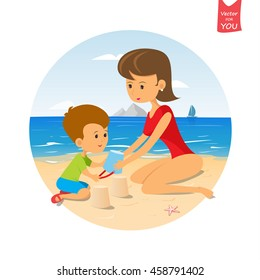 Funny cute cartoon baby and mom playing on the beach.