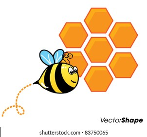 Funny cute cartoon bee flying in front of a orange bee hive, vector illustration