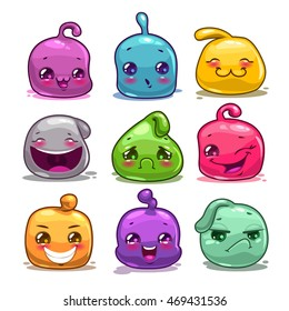 Funny cute cartoon colorful jelly characters. Comic little alien monsters icons, game assets.