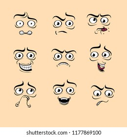Funny cute cartoon emotions. Set of 9 faces with different expressions. Vector illustration. Сlipart on apricot background.