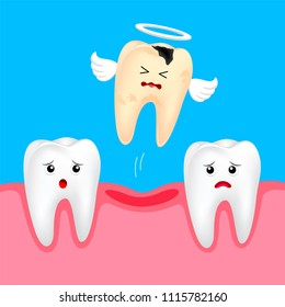 Funny cute cartoon missing tooth. Dental care concept. Illustration isolated on blue background.