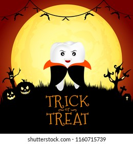 Funny cute cartoon tooth character. Dracula in moon night on halloween. Illustration for banner, poster, greeting card.