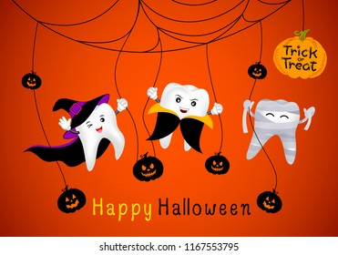 Funny cute cartoon tooth character. witch, mummy and Dracula in moon night. Happy Halloween concept. Design for banner, poster, greeting card. Illustration.