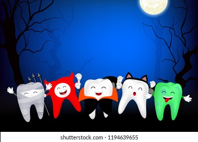 Funny cute cartoon tooth character. Mummy, Devil, Drucula, bat and zombie in moon night, happy Halloween concept. Design for banner, poster, greeting card. Illustration.