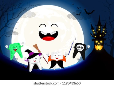 Funny cute cartoon tooth character. witch, Dracula, skull and zombie in moon night. Happy Halloween concept. Design for banner, poster, greeting card. Illustration.