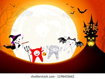 Funny cute cartoon tooth character. witch, devil, mummy and bat in moon night. Happy Halloween concept. Design for banner, poster, greeting card. Illustration.