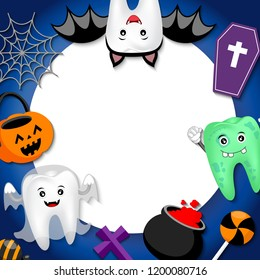 Funny cute cartoon tooth character with white paper space. bat, ghost, zombie and Halloween ornaments. Happy Halloween concept. Design for banner, poster, greeting card. Illustration.
