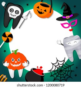 Funny cute cartoon tooth character with white paper space. Pumpkin, skull, mummy and Halloween ornaments. Happy Halloween concept. Design for banner, poster, greeting card. Illustration.