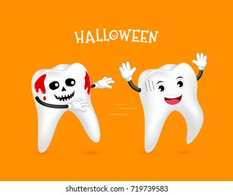 Funny Cute cartoon tooth characters, Tooth with blood. Trick or Treat concept, Happy Halloween day,  illustration on orange background.