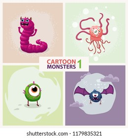 Funny cute cartoon vector monster characters set