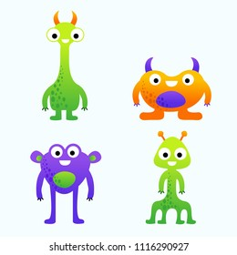 Funny cute cartoon vector monsters set for kids