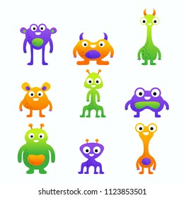Funny cute cartoon vector monsters set for children